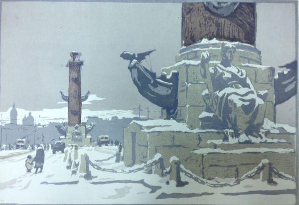 Зима. Ростральная колонна.