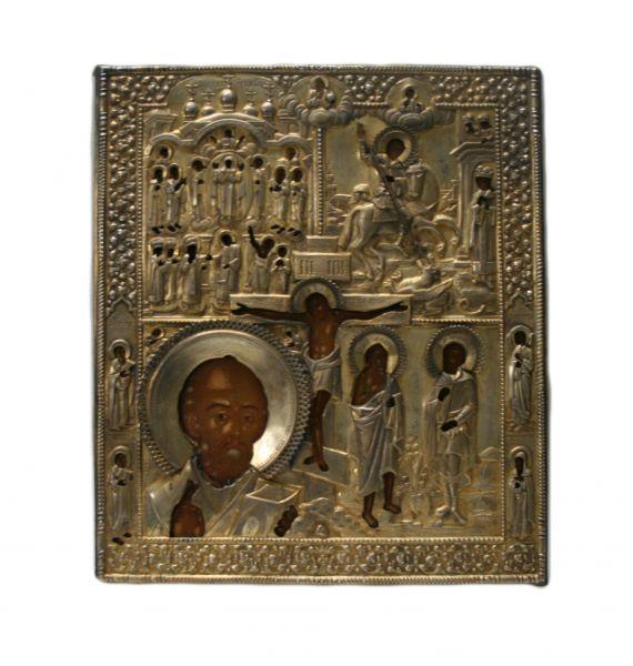 Четырехчастная икона с Распятием.